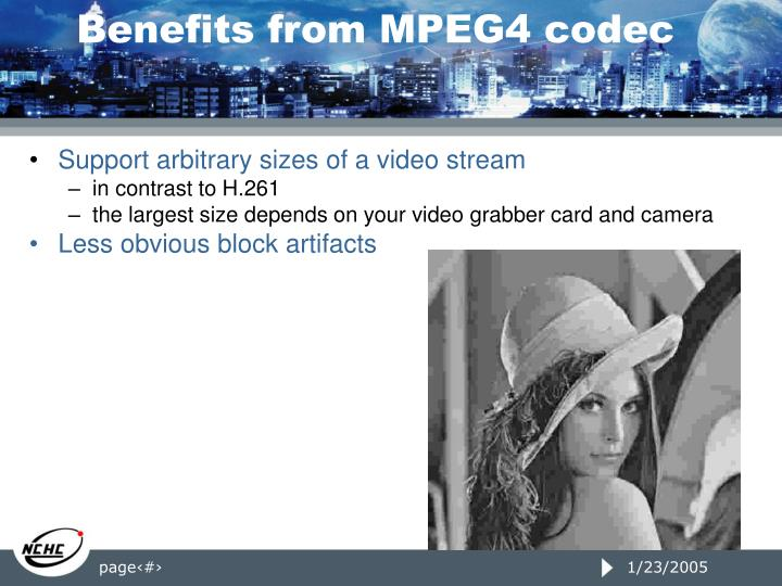 Benefits from MPEG4 codec