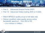 status of mpeg4