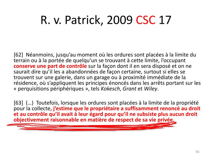 R. v. Patrick,2009