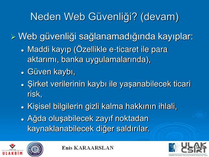 Neden Web Güvenliği? (devam)