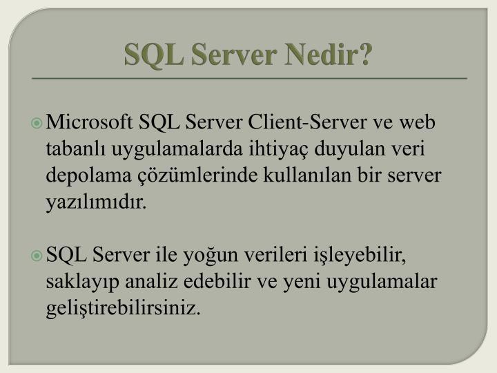 SQL Server Nedir?