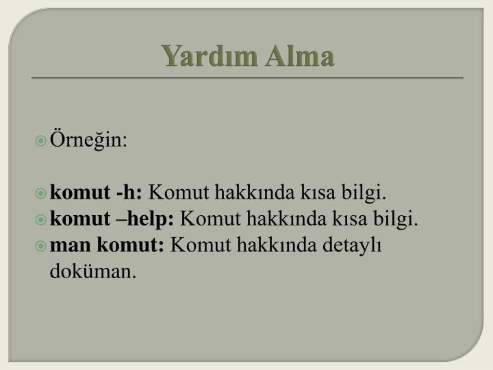 Yardım Alma