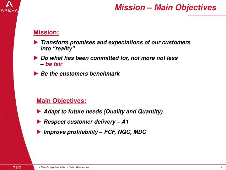 Mission – Main Objectives