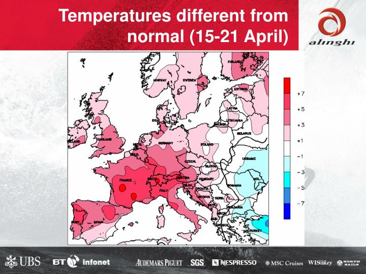 Temperatures different from normal (15-21 April)