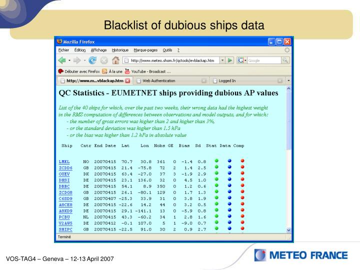 Blacklist of dubious ships data