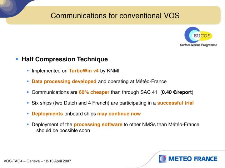 Communications for conventional VOS