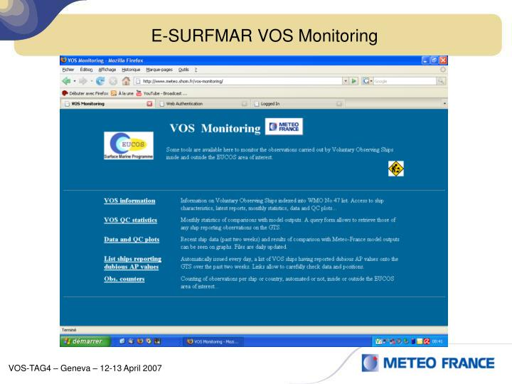 E-SURFMAR VOS Monitoring