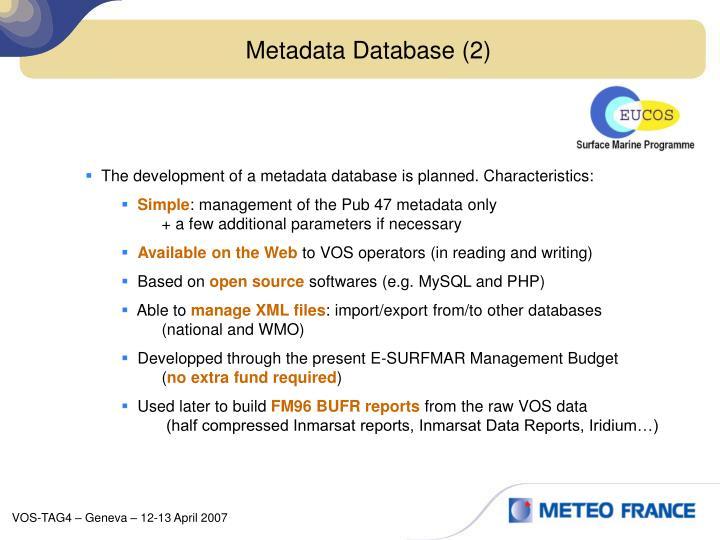 Metadata Database (2)