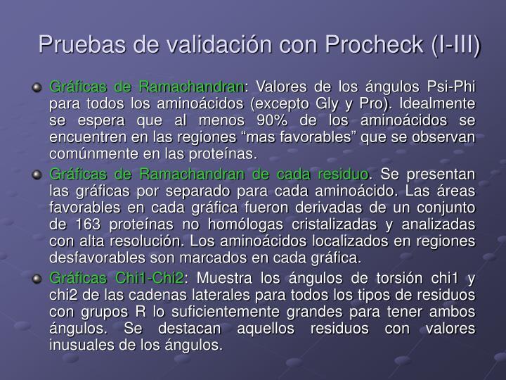 Pruebas de validación con Procheck (I-III)