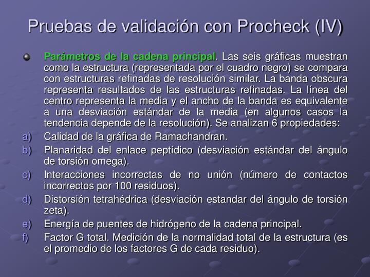 Pruebas de validación con Procheck (IV)