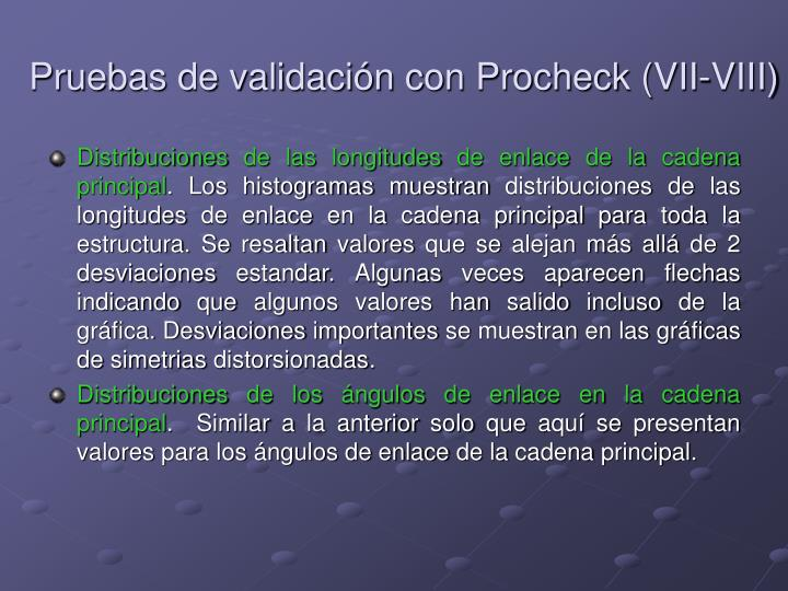 Pruebas de validación con Procheck (VII-VIII)