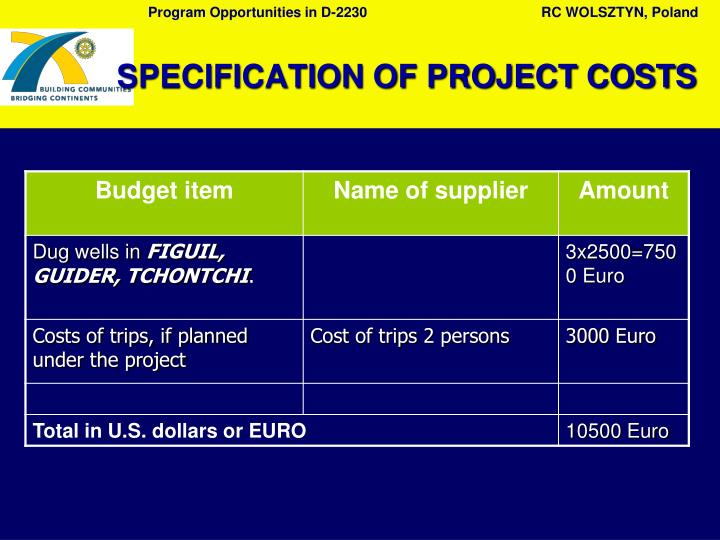 SPECIFICATION OF PROJECT COSTS