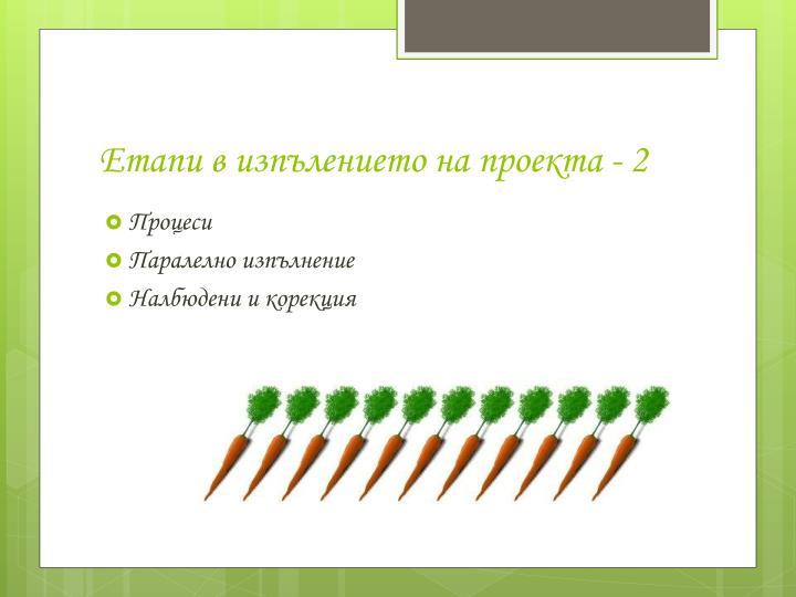 Етапи в изпълението на проекта