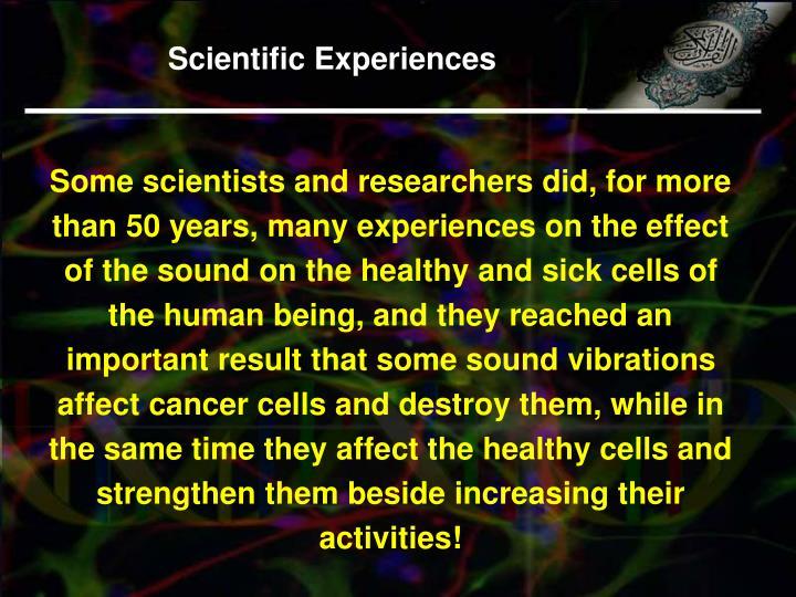 Scientific Experiences