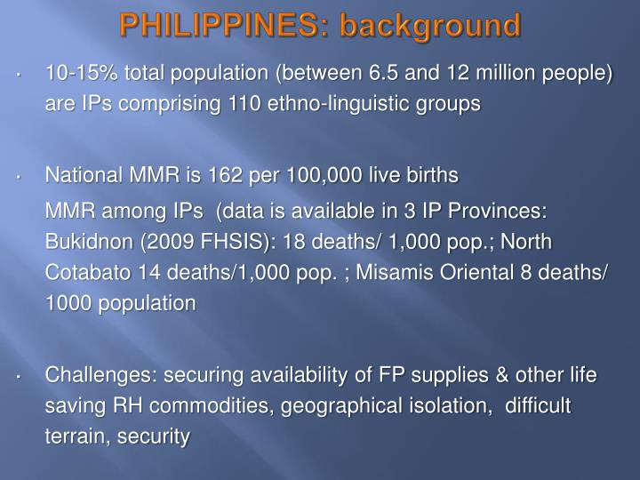PHILIPPINES: background