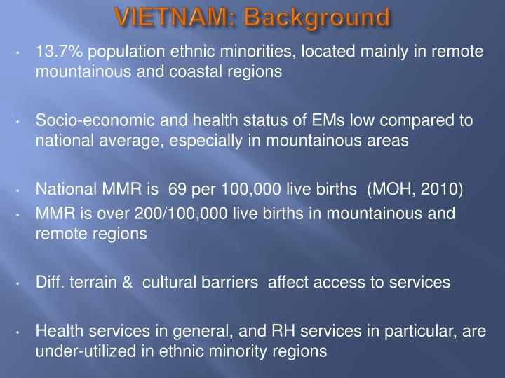 VIETNAM: Background
