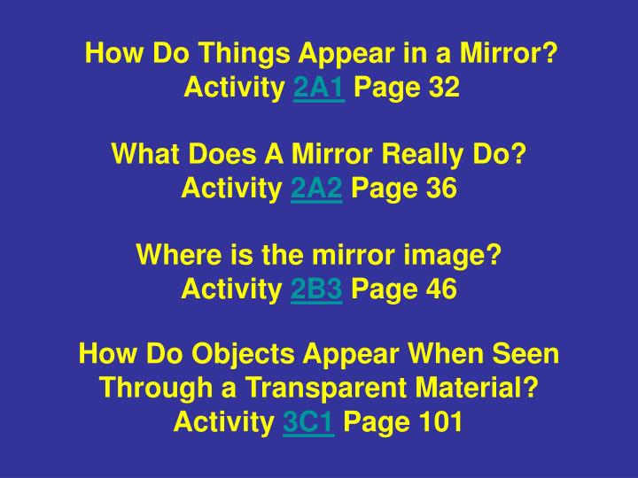 How Do Things Appear in a Mirror?