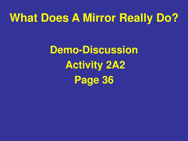 What Does A Mirror Really Do?