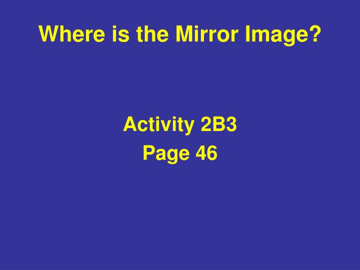 Where is the Mirror Image?