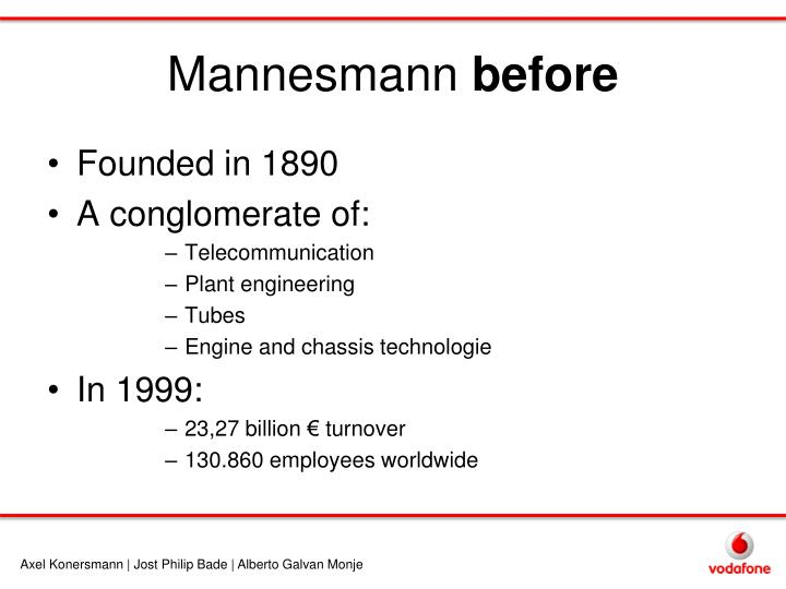 Mannesmann before