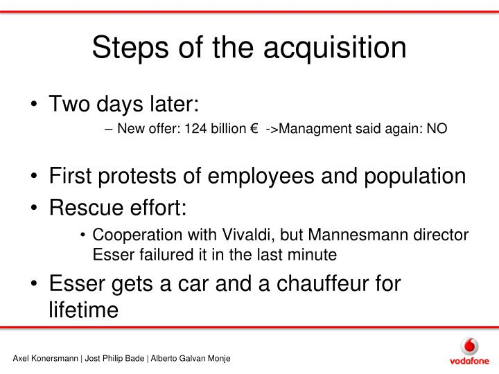 Steps of the acquisition