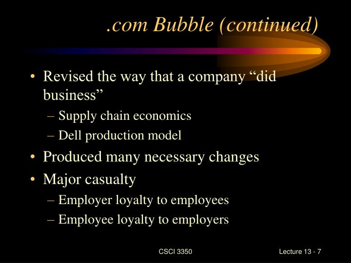 .com Bubble (continued)