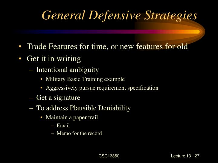 General Defensive Strategies