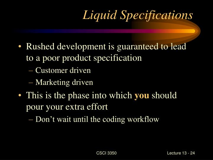 Liquid Specifications