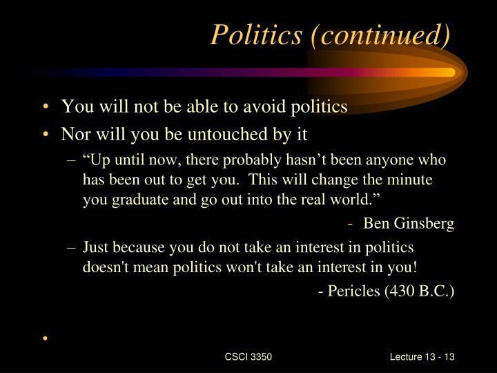 Politics (continued)
