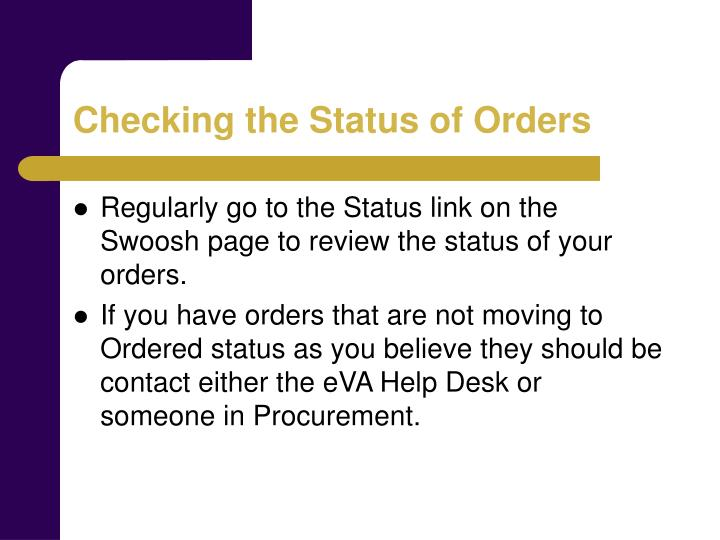 Checking the Status of Orders