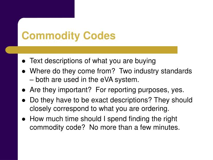 Commodity Codes