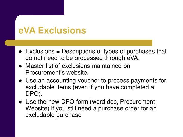 eVA Exclusions