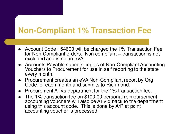 Non-Compliant 1% Transaction Fee
