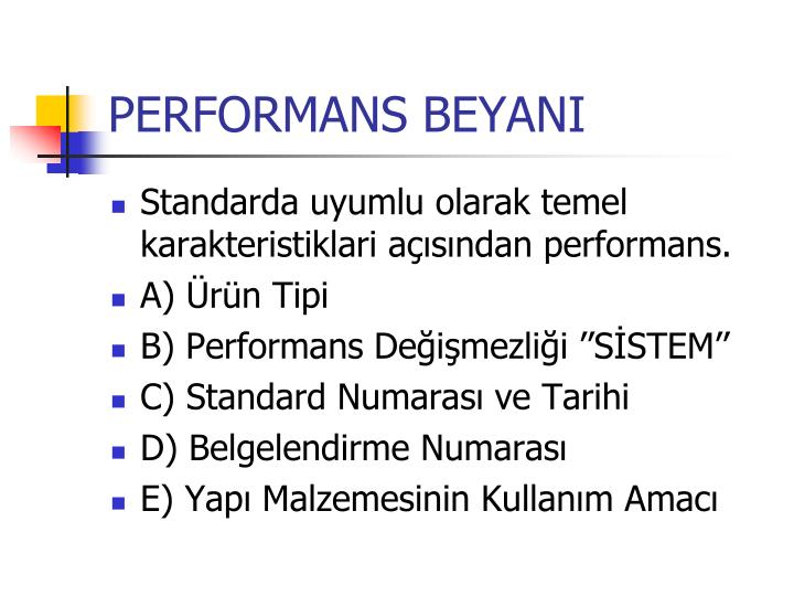 PERFORMANS BEYANI