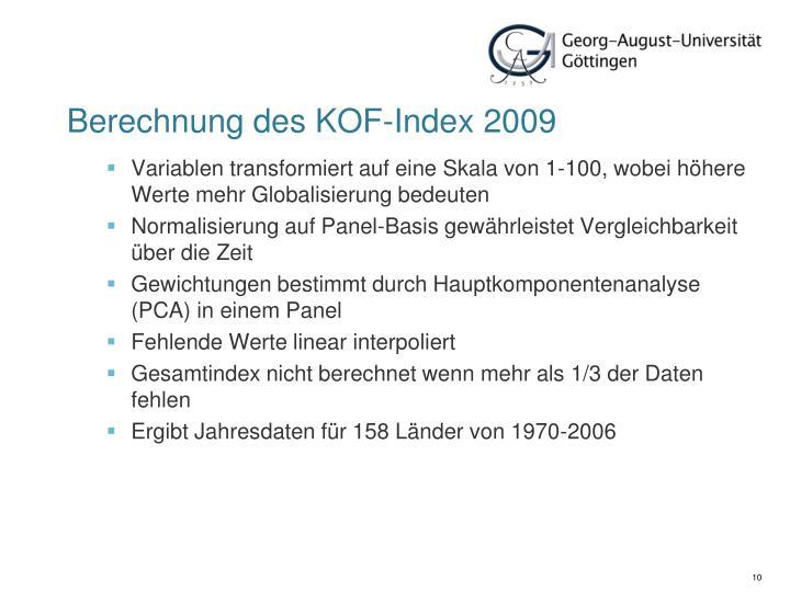Berechnung des KOF-Index 2009