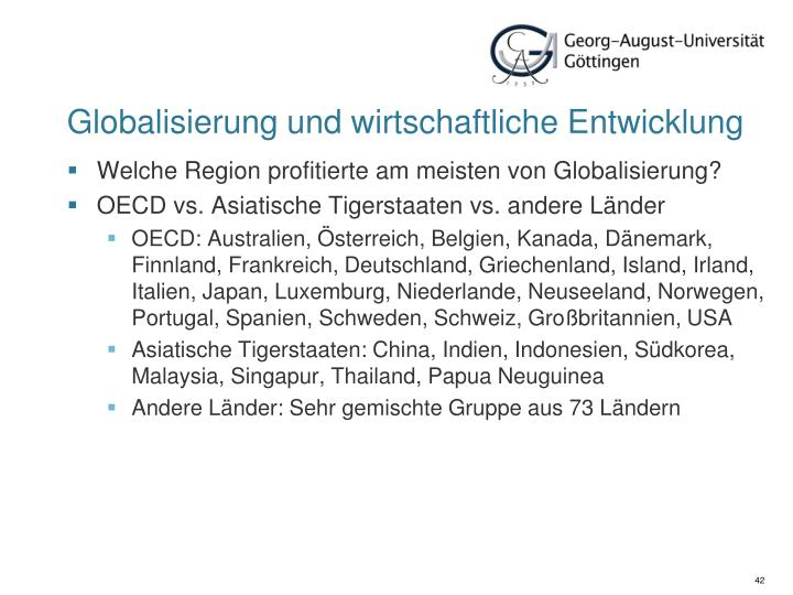 Globalisierung und wirtschaftliche Entwicklung