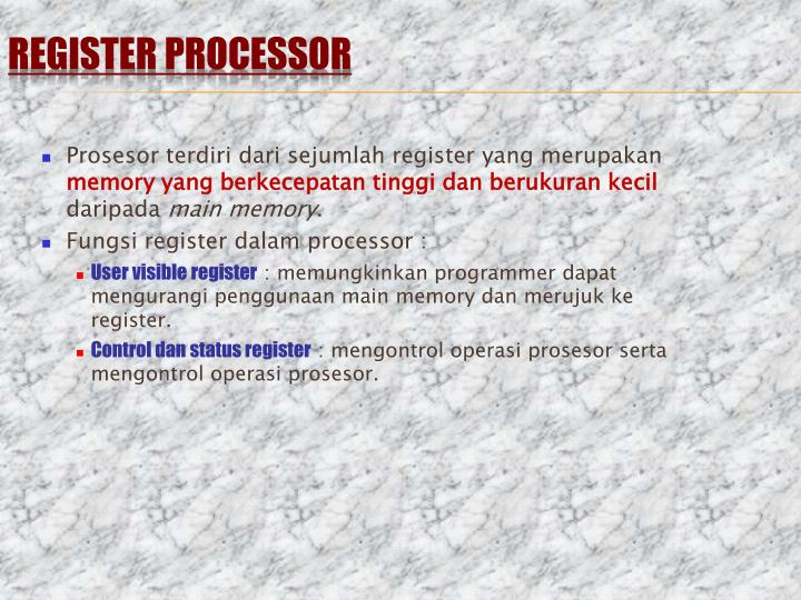 REGISTER PROCESSOR