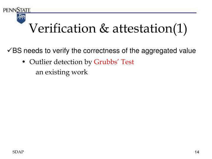 Verification & attestation(1)