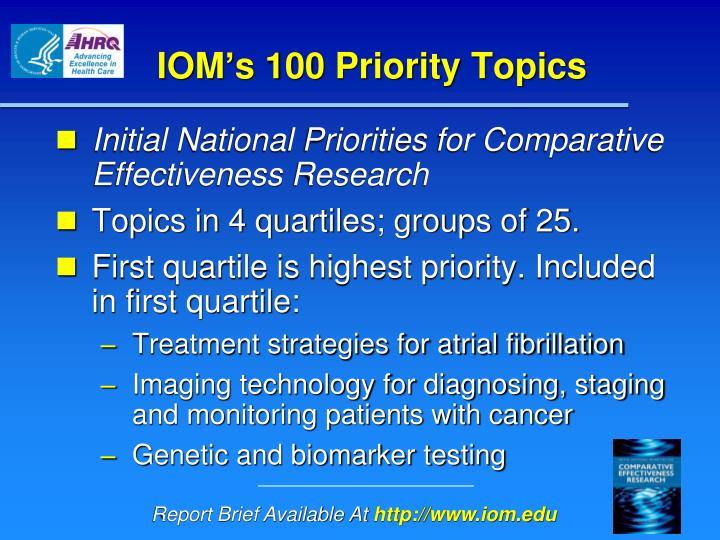 IOM's 100 Priority Topics