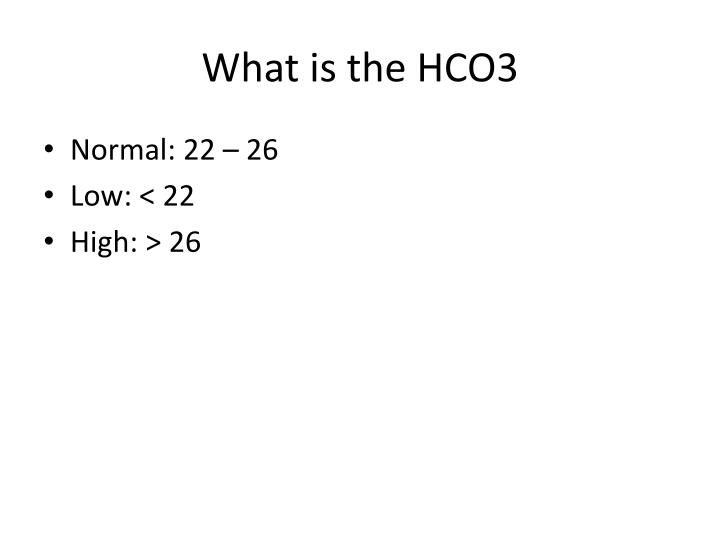 What is the HCO3