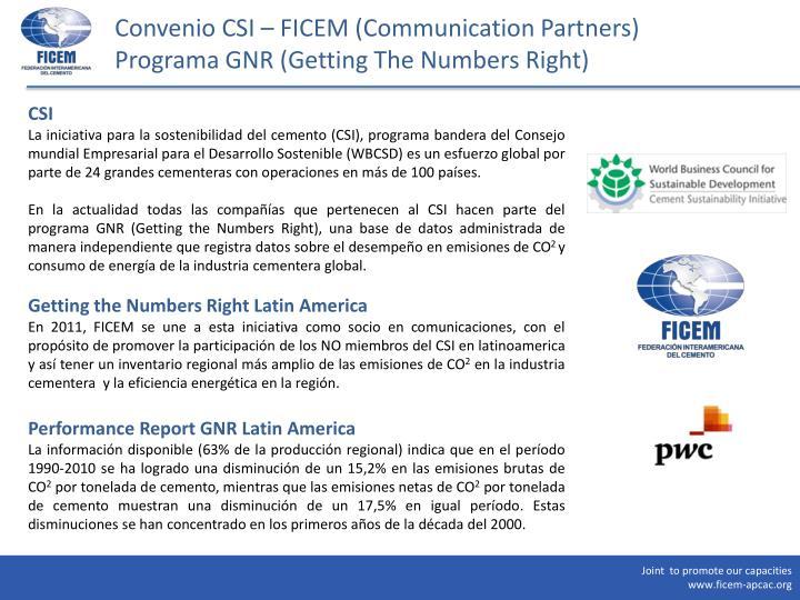 Convenio CSI – FICEM (