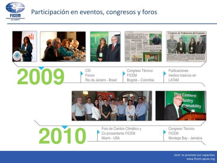 Participación en eventos, congresos y foros