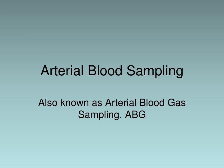 Arterial blood sampling