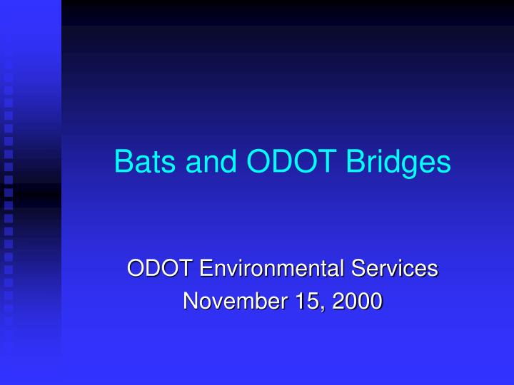 Bats and odot bridges
