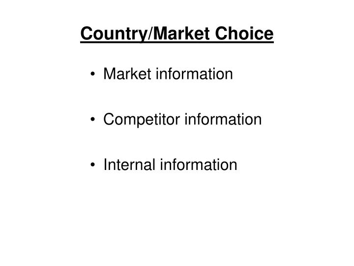Country/Market Choice