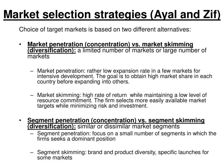 Market selection strategies (Ayal and Zif)