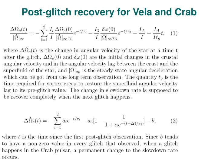 Post-glitch recovery for Vela and Crab