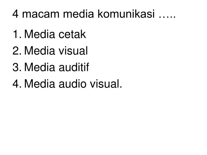 4 macam media komunikasi …..