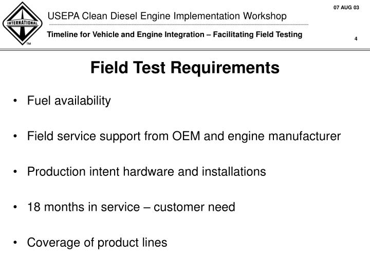 Field Test Requirements