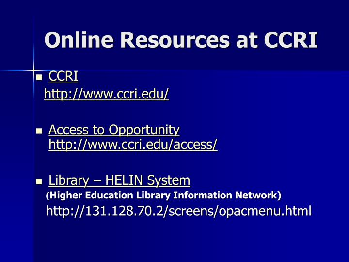 Online Resources at CCRI